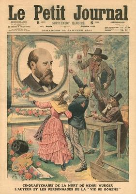 Fiftieth anniversary of the death of Henri Murger, the author and the characters of 'La Vie de Boheme', illustration from 'Le Petit Journal', supplement illustre, 29th January 1911