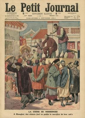 Modernisation of China, Chinese having their pigtail cut off in Shanghai, illustration from 'Le Petit Journal', supplement illustre, 5th February 1911