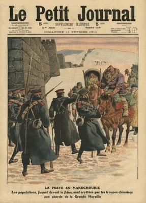 Plague in Manchuria, people fleeing the plague are stopped by Chinese troops before the Great Wall, illustration from 'Le Petit Journal', 12th February 1911