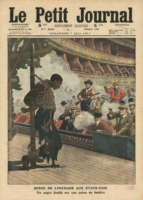 A lynching scene in the United States of America, where a negro is shot in a theatre, illustration from 'Le Petit Journal', supplement illustre, 7th May 1911