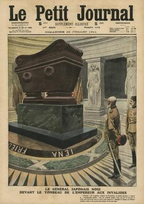 The Japanese General Count Maresuke Nogi before the tomb of Emperor Napoleon Bonaparte at Les Invalides, Paris, illustration from 'Le Petit Journal', supplement illustre, 23rd July 1911