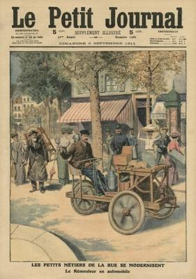 Modernisation of the street jobs, the knife grinder in his car, illustration from 'Le Petit Journal', supplement illustre, 3rd September 1911