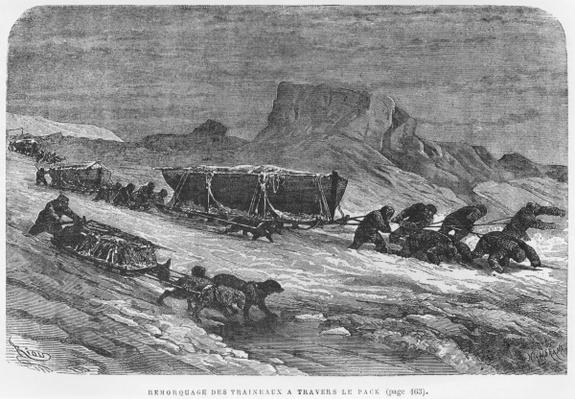 Pulling the sledges through the pack ice, illustration from 'Expedition du Tegetthoff' by Julius Prayer