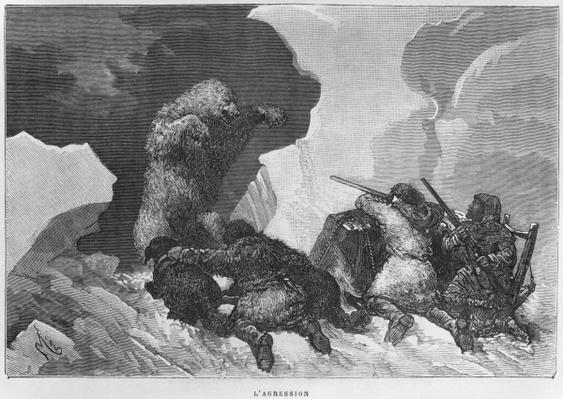 Attack, illustration from 'Expedition du Tegetthoff' by Julius Prayer