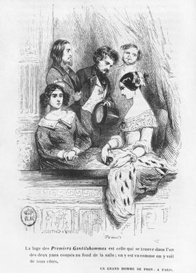 The Premiers Gentilhommes theatre box, illustration from 'Les Illusions perdues' by Honore de Balzac, published 1842
