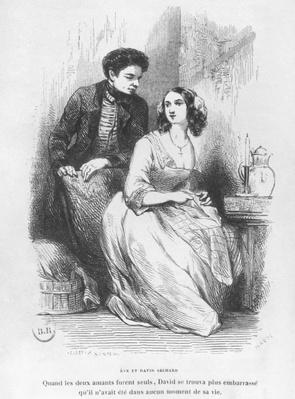 Eve and David Sechard, illustration from 'Les Illusions perdues' by Honore de Balzac, published by Editions Furne, 1842