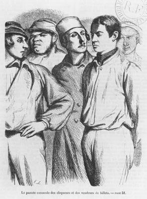 The arrogant squad of hired applauders and ticket sellers, illustration from 'Les Illusions perdues' by Honore de Balzac