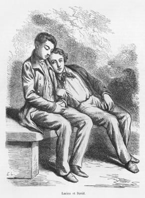 Lucien de Rubempre and David Sechard, illustration from 'Les Illusions perdues' by Honore de Balzac