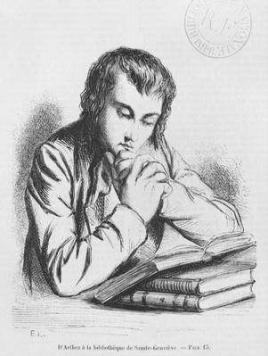 Daniel d'Arthez at the Bibliotheque Sainte-Genevieve, illustration from 'Les Illusions perdues' by Honore de Balzac