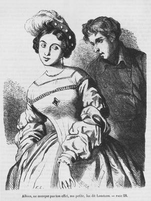 Etienne Lousteau speaking to an actress, illustration from 'Les Illusions perdues' by Honore de Balzac