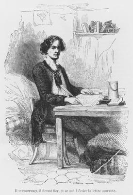 Lucien de Rubempre writing a letter, illustration from 'Les Illusions perdues' by Honore de Balzac, engraved by Antoine Alphee Piaud