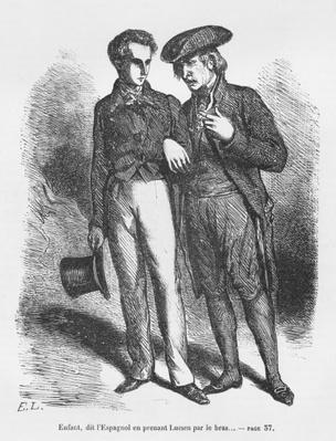 Lucien de Rubempre and Carlos Herrera, illustration from 'Les Illusions perdues' by Honore de Balzac