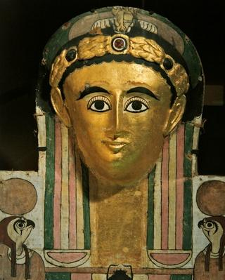 Mummy cartonnage head of Crates, from Deir el-Medina, Thebes, mid 2nd century
