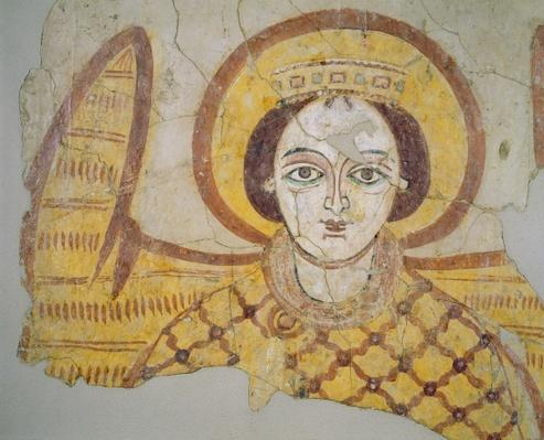 Crowned archangel with spread wings, from the cathedral of Faras, Sudan
