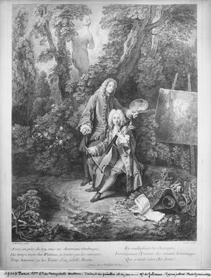 Jean Antoine Watteau and his friend Monsieur de Julienne, engraved by Nicolas Henri Tardieu