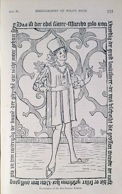 Facsimile of the frontispiece from the first German edition of Marco Polo's Book, Nuremberg, published in 1477