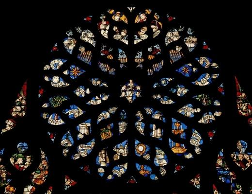 Rose window depicting the Litany of the Virgin