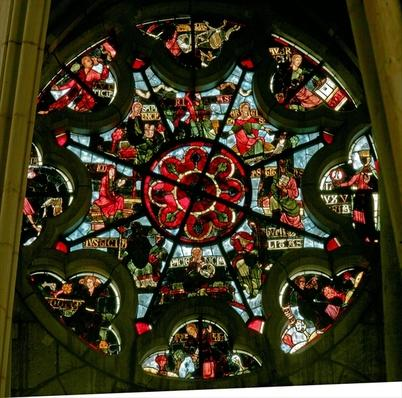 Rose window depicting the vices and virtues
