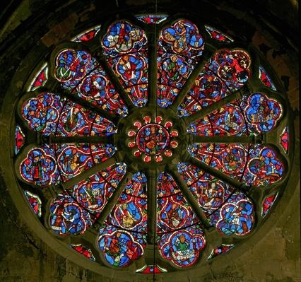 Rose window depicting the works of the months and the twelve apostles