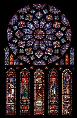 Rose window depicting Kings and Prophets surrounding the Virgin Mary and infant Christ