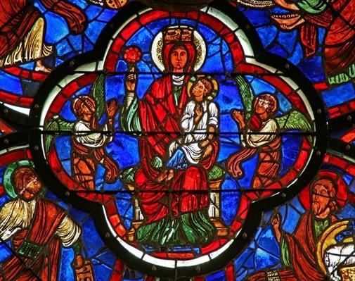 Window depicting the Virgin holding Christ on her knee and a rose in her right hand