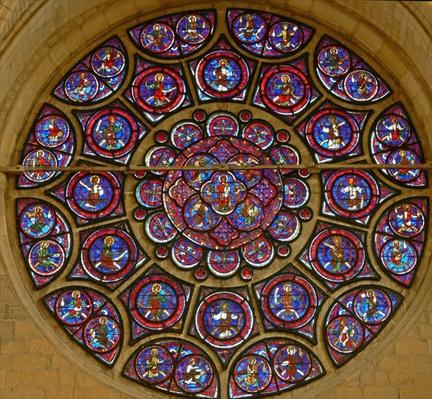 Rose window depicting the Virgin Mary surrounded by the twelve apostles and the twenty-four elders of the Apocalypse
