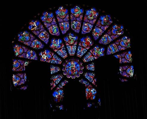 The North Rose window depicting the signs of the zodiac, the