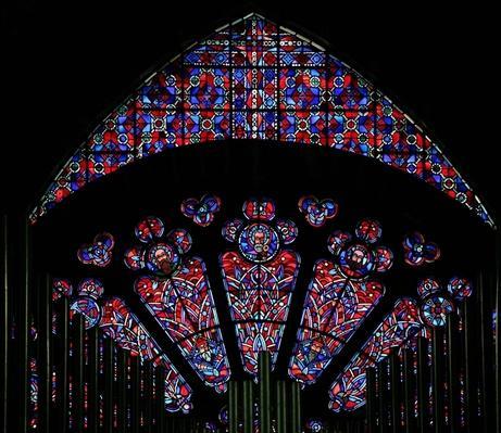 Modern glass in thirteenth-century stonework