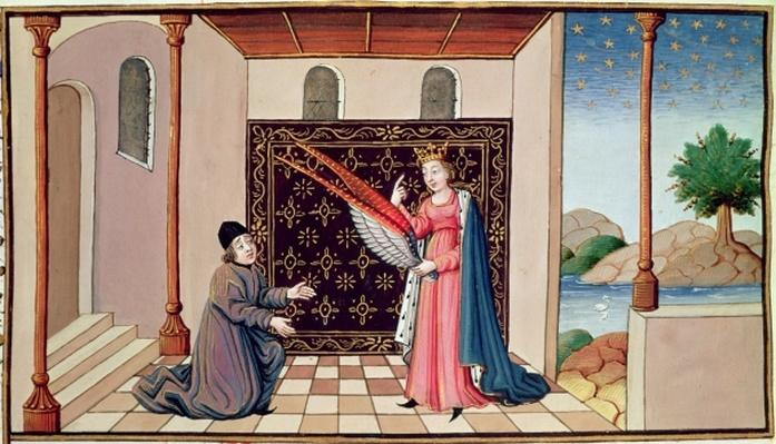 Ms 3045 fol.68v Lady Philosophy offers to Boethius the wings that will enable his mind to fly aloft