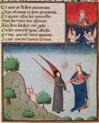 Ms 3045 fol.94r Lady Philosophy leads Boethius in flight into the sky on the wings that she has given him; God the Father looks on in blessing