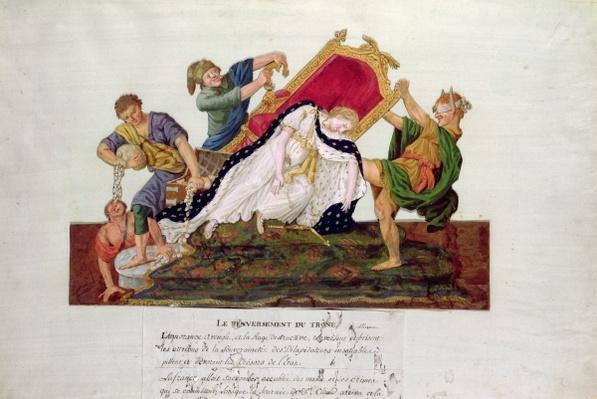 Allegory of the overturning of the throne in France during the French Revolution