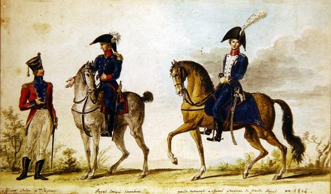 Swiss officer of the 4th regiment, horseman of the Royal Emigre Cavalry and mounted National Guard, 1814