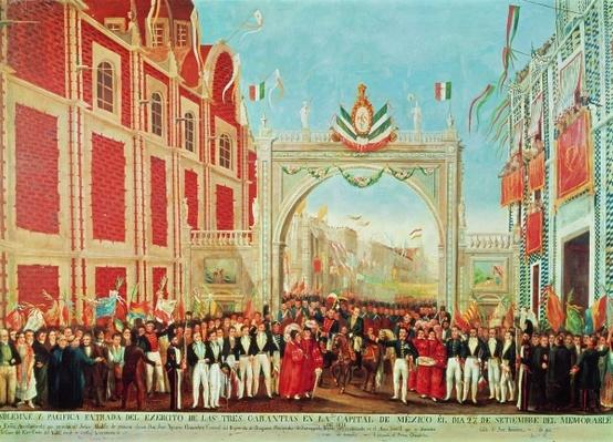 """""""Solemn and Peaceful Entry of the Army of the Three Guarantees into Mexico City on September 27, 1821,"""" Painting"""