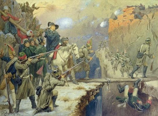 Suvorov crossing the Devil's Bridge in 1799, 1880