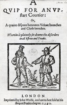 Title page for 'A Quip for an Upstart Courtier' by Robert Greene, 1592