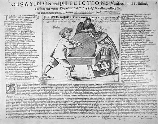 'Old Sayings and Predictions verified and fulfilled, touching the young King of Scotland and his gued Subjects', published in 1651