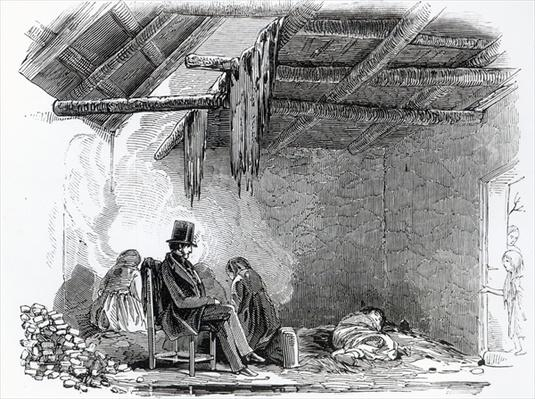 A doctor visiting a family during the Irish Famine, c.1849