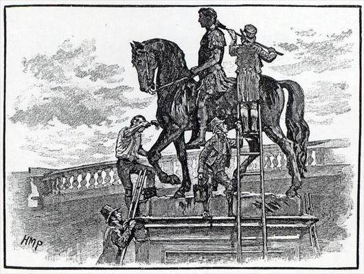 William III statue being painted black, Dublin, 1821
