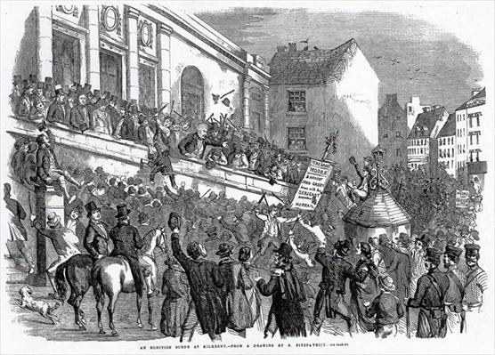 An Election Scene at Kilkenny, illustration from 'The Illustrated London News', May 14th, 1859