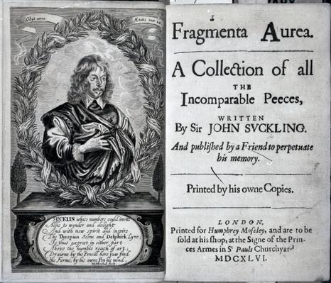 Frontispiece of 'Fragmenta Aurea, A Collection of all the Incomparable Peeces written by Sir John Suckling', published in 1646