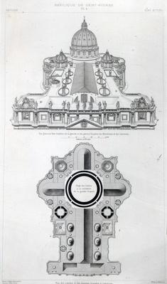 Plan of the roof of St.Peter's, Rome from Letarouilly's 'Edifices de Rome Moderne', edition published in 1882