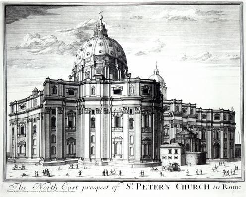 The north east prospect of St. Peter's Church, Rome, engraved by H. Hulfbergh