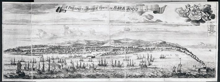 A Prospect of Bridge Town in Barbados, drawn by Samuel Copen and engraved by Johannes Kip, 1695