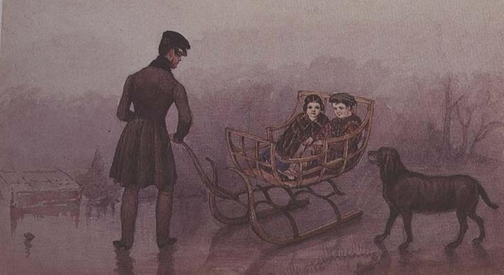 Anthony, Frank and Caroline sledging on the ice