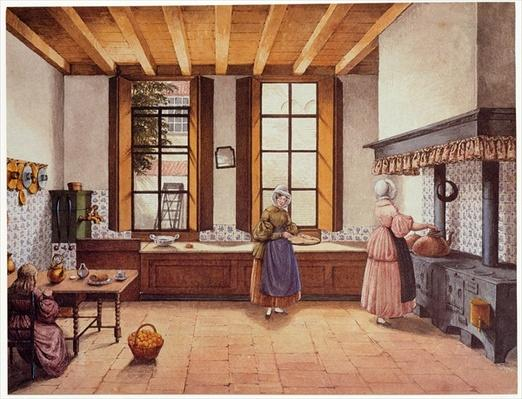 Kitchen of the Zwijnshoofd Hotel at Arnhem, 1838