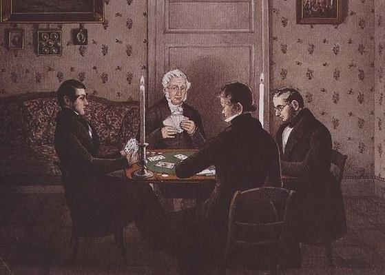 Anthony playing cards with his friends, 19th century