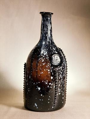 Dark brown bottle, probably Nailsea, late 18th century