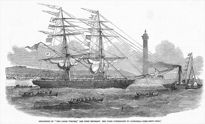 Departure of 'The Lizzie Webber', the first emigrant ship from Sunderland to Australia, from 'The Illustrated London News', 7th August 1852