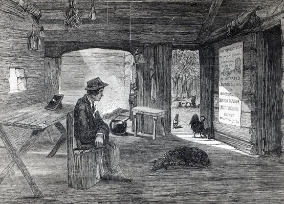 Interior of a settler's hut in Australia, from 'The Illustrated London News', 1849