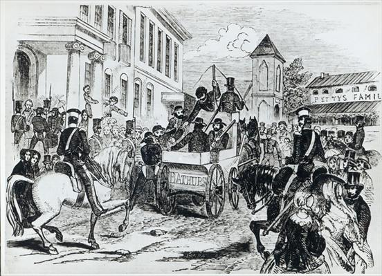 Arrival of the Government Conveyance at the Colonial Treasury, Sydney, on 21st August 1851, from 'The Illustrated London News', 24th January 1852